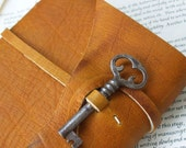 Leather Writing Journal with Antique Skeleton key -- spook, rusty old hollow key with wonderful patina
