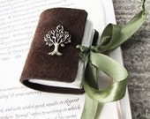 Chocolate and olive tree journal - mini book with ribbon tie. Dreamy little woodland book.