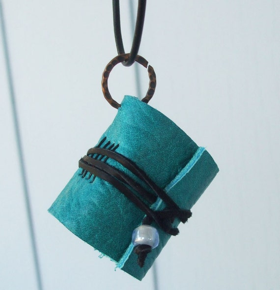 Teal leather book necklace - wearable journal