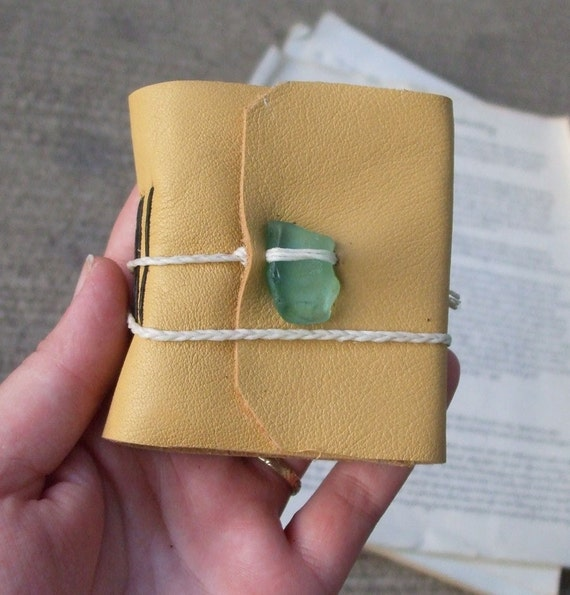 Small leather journal - sunset on the beach, yellow buttercream with real aqua seaglass
