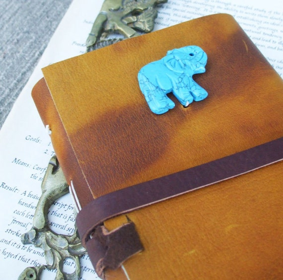 Turquoise Elephant - honey brown leather journal