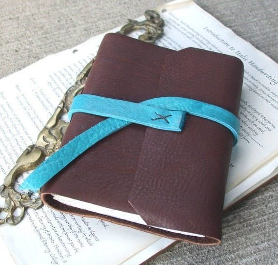 Chocolate and Teal Leather Journal - simple bicolored wrap journal