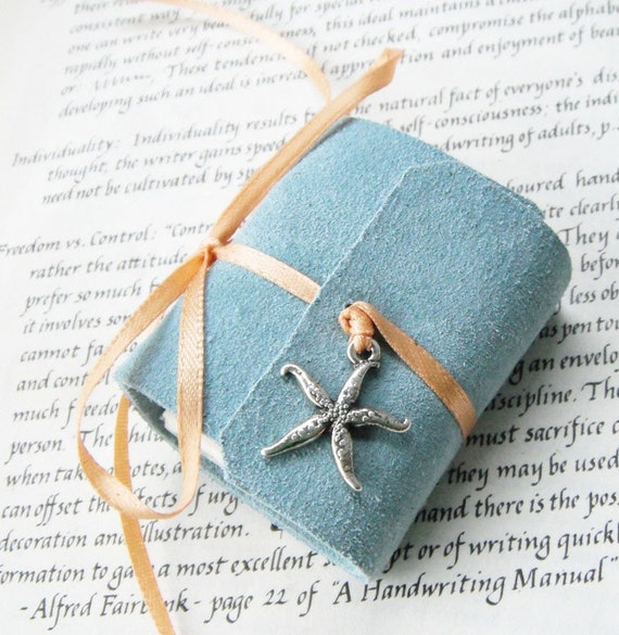 Pastel Blue Mini Book - with a silver starfish charm and peach ribbon tie.