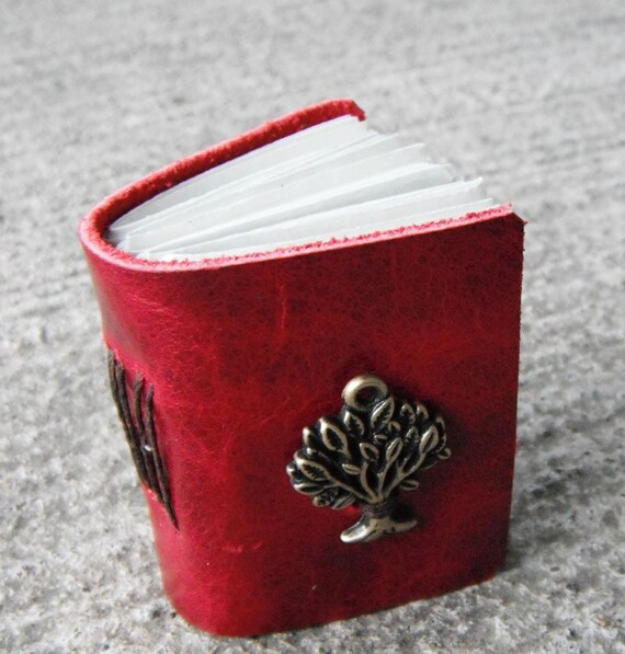 Crimson Tree - mini journal made from red Italian leather. Parchment paper pages. A locket for your thoughts