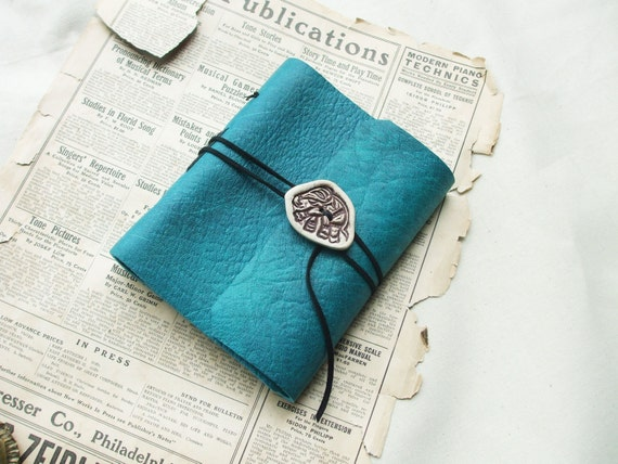 Leather Journal with Clay Mammoth