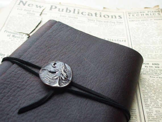 Dark Brown Journal with Clay Midnight Button