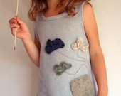 wool sweater dress for a toddler girl in earth heather colors