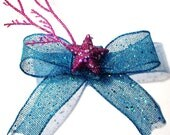 SALE Turquoise and Purple Glitter Hair Bow