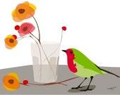 Bird art print - Precious Love - Bird Wall Art, Floral print, bird print, 8 x 10in, poppy print, Gallery Wall, Flower Nursery Art, poppy art