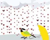 bird Love art print-It's raining love-Yellow gray Nursery Baby girl Nursery Decor,LOVE print Nursery art prints,nursery wall art print