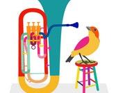 Music art print - Euphonium - musical instrument,bird art print,Gift for Music Lover,Music Decor,Music Wall Art,Classical Music Poster,