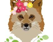 Woodland Nursery Art print - Spring Fox - Woodland fox Art,  Kids Wall Art, fox nursery art prints, baby nursery decor, nursery wall art