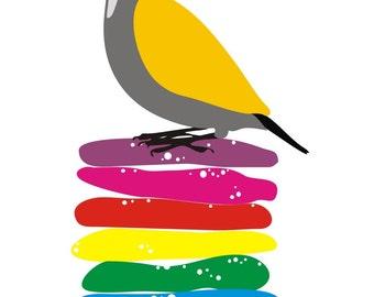 Original Art print, Cookies, bird illustration art, Decorative art, Kitchen Art, colorful Art, food art print