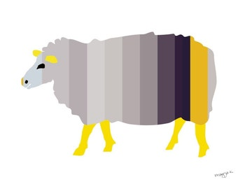 Nursery art print - The Striped Sheep - Sheep print, 8x10, Nursery decor, Kids room decor, Children's wall art, kids wall art, yellow, grey