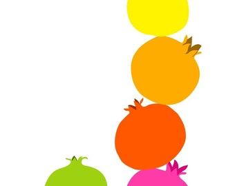 Kitchen art print -  Pomegranate - wall art, illustration