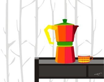 kitchen art print - Mid Century modern, Mocha expresso maker - art for kitchen, coffee wall art, coffee print, coffee art, retro kitchen, A4