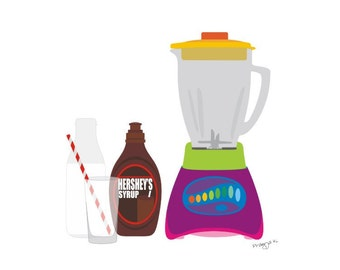 Kitchen art, Chocolate Milk Shake illustration,  Modern Illustration  Kitchen Retro Art Wall, Decor Print, kitchen wall art,