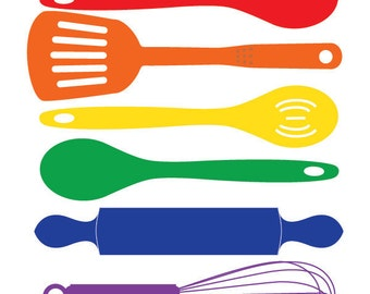 Kitchen art Print, art for kitchen, colorful kitchen wall decor, Food print, Kitchen Happiness - Spatula Spoon Whisk Rolling Pin