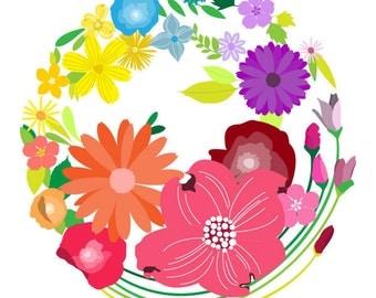 Flower art print - Shangri-La - Flowers Print,illustration Print,Floral Art,Spring flowers,colorful flower wall art,botanical art print