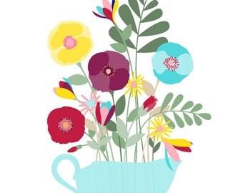 Flower art print - Freshly Cut - Floral art, flower art, Flower drawing decor, Floral home decor, Wall art Modern, Nature art print