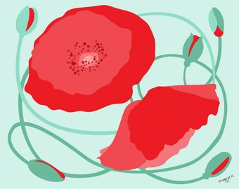 Coral Poppies print - Poppy Patch - Red Poppies Wall Art Set,flower Print,Red Wall Art,Flowers print set,8x10,Floral Art, Minimalist Poppies
