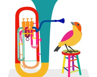 Music art print - Euphonium - musical instrument,bird art print,Gift for Music Lover,Music Decor,Music Wall Art,Classical Music Poster,