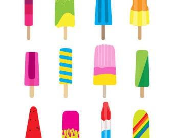 kitchen art, Cute Popsicles art print, kids wall art, cute kitchen decoration, food poster,  kitchen poster, kids food poster,