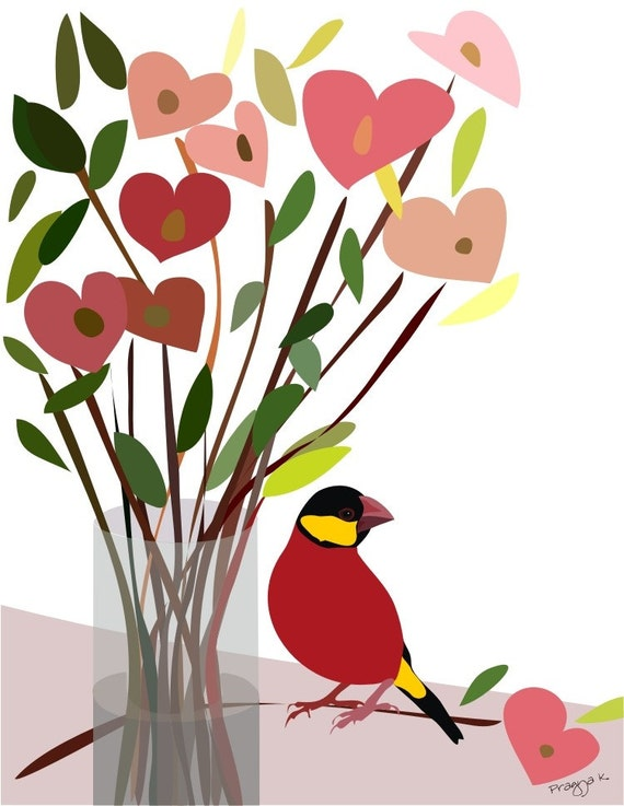 Red Heart Art Print - Just a bunch of love -bird art,Heart art,Love art print,Anniversary Gift,Love poster,Wedding gift,Office Bedroom Decor