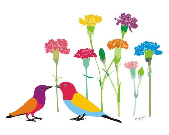 Carnations art print,Flower Print Art,Floral Artwork Wall Decor Hanging,Colorful Flower print,Colorful Wall Art,Colorful Wall Decor,bird art