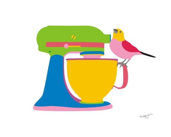 Stand mixer kitchen print. Food print. modern art print. colorful kitchen poster. Bird art print - Let's bake