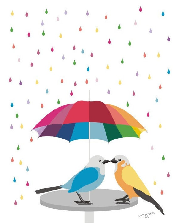 Love art  print - Rainbow Umbrella - bird art,Colorful wall art,Love bird print,Rainbow decor,Lovebird wall art,Bird artwork,Bird wall art