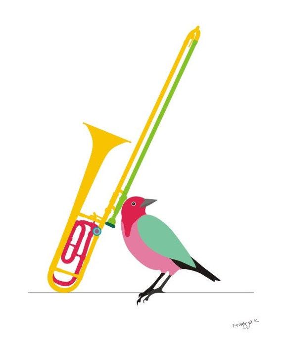 Music art print -Trombone - musical instrument,bird art print,Music Musician Musical Art Print,Instrument Wall Art,Music Poster,Band Art