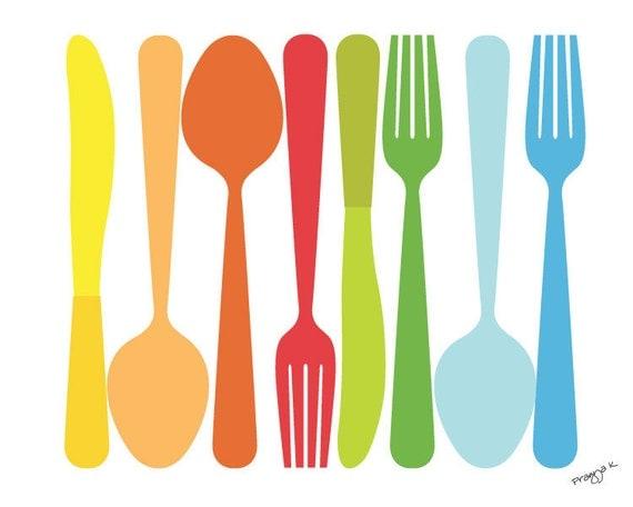 Kitchen art work Kitchen Decor Spoon Fork Knife Art for