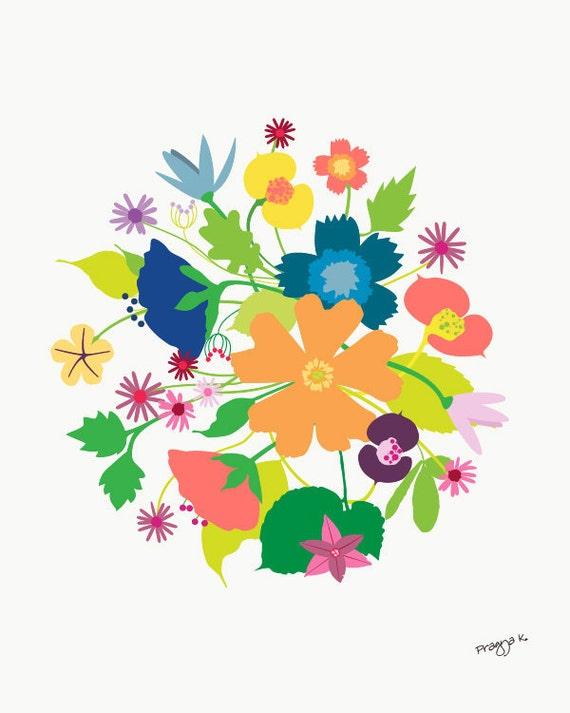 Flower art print-Wild Summer-Wall Decor flower art,Floral Giclee Print,Kid Wall Art,Wild flower Bouquet Arrangement,Still Life Illustration