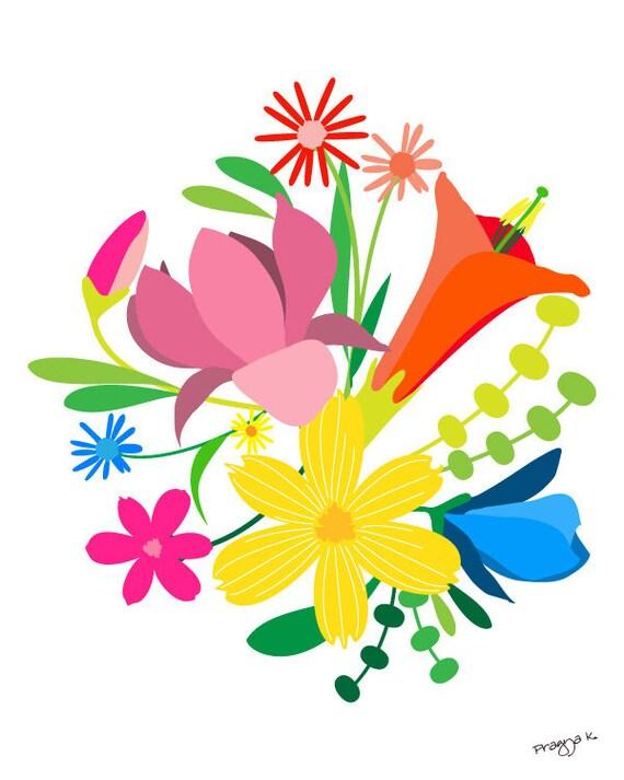Flower art print - Nomadic Blooms - Happy art, flower illustration, Flower print, Giclee Print, Colorful Print Wall Art,Floral Art Print