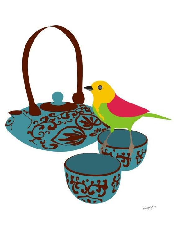 Kitchen art work - Tea print - High Tea -  oriental tea set, Kitchen Art, Tea Art Print, Modern Kitchen Art, Tea Poster, Modern Poster