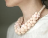 Felt necklace creamy pink and peach