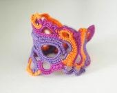 Crochet cuff bracelet - freeform crochet - hot violet lilac and orange cotton bracelet