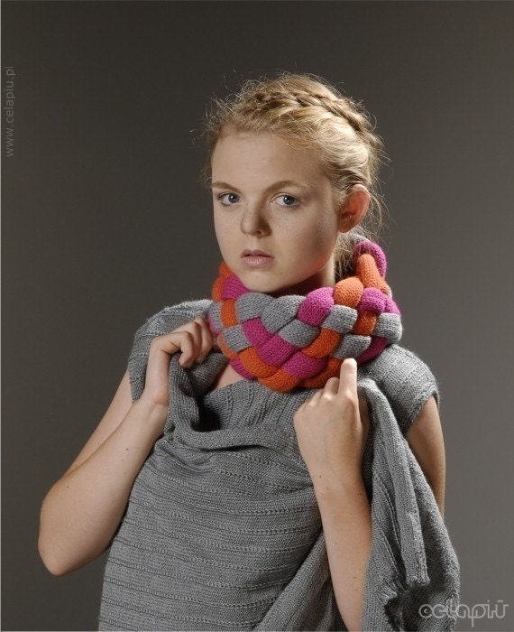 SALE Woven Cowl in Hot Pink Mix