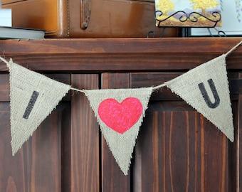 "Burlap Valentine Garland ""I love u"" Bunting Flag Banner"