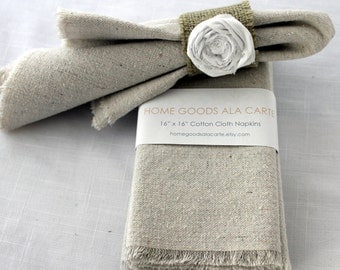 8 Cloth Napkins Unbleached Cotton Set of 8