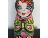 Russian Nesting Doll Pillow-Butterfly Design