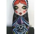Russian Nesting Doll Pillow - Blue Rose