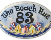 New Large Personalised Ceramic House Number Plaque Sign  -  Beach Hut design.