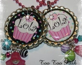 PERSONALIZED Confetti Cupcake Bottle Cap Pendant Necklace U CHOOSE COLOR
