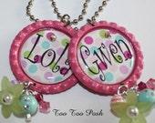 Colorful Polkas PERSONALIZED Bottle Cap Necklace