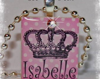 PERSONALIZED Pink Polka Dotted Couture Crown Scrabble Tile Pendant Necklace