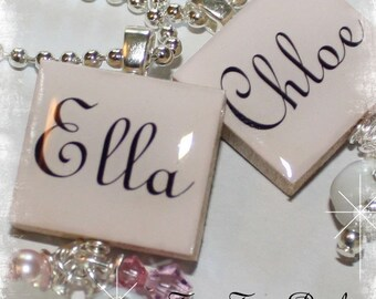 SIMPLY STATED Personalized Light Pink Scrabble Tile Pendant Necklace