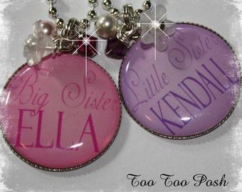 BIG and LITTLE SISTER Bezel  Pendant Necklace Set