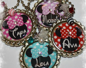 YOU CHOOSE COLOR Personalized Mouse Inspired Polka Dot Bottle Cap  Necklace